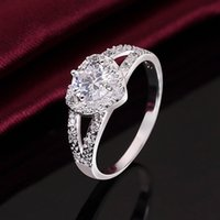 Wholesale 925 Sterling Silver Cubic Zirconia Wedding Bridal Heart Ring For Women