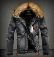 al por mayor abrigo de cuello de piel de la vendimia-Nuevo invierno de los pantalones vaqueros Ropa Outwear hombres con cuello de piel de lana de la chaqueta del dril de algodón ropa gruesa ENVÍO GRATIS