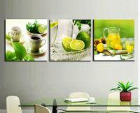 оптовых цветочный панель-3 Группа Современные печатные Фрукты Лимонный Живопись Картина на холсте перед обеими Decor КУАДРОС Пейзаж для гостиной с рамой T / 732