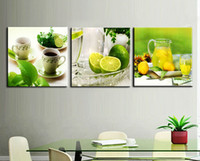 Wholesale 3 Panel Modern Printed Fruits Lemon Painting Picture On Canvas Kicthen Decor Cuadros Landscape For Living Room With Frame T