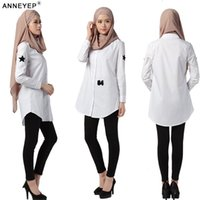 asia indonesia - 037 new long section of Dubai Muslim gown fashion long sleeved shirt female white shirt Southeast Asia Indonesia Arab robes for women