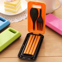 Wholesale 1 Set Three Piece Portable Tableware Sets With Folding Combination Spoon Fork Chopsticks Bento Lunch Box Tableware Kitchen Tools