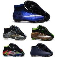 Wholesale Hot sale original Blue CR7 FG Soccer Shoes Hypervenom Phantom II FG SOCCER Cleats High Ankle Football Boots