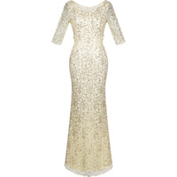 angels jewels - 2016 New Arrival Angel fashions Women s V Neck Sequin Half Sleeves Mermaid Sheath Party Dress Prom Gown A CE