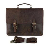 Wholesale 2016 Brand New Men Genuine Cow Leather Bag Brown Color Boy Solid Dress Briefcase Man Laptop Holder Handbag Single Shoulder Bag
