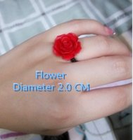 Wholesale chinese style hand made elastic red rose ring forever love