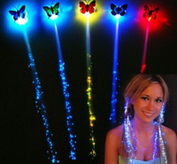 Wholesale LED flash butterfly fiber braid party dance lighted up glow luminous hair extension rave halloween decor Christmas event favor