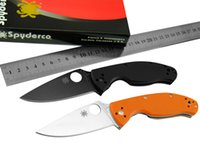 Wholesale 2016 Spyderco Color Military Knife C122 Tenacious G10 Hade Blade cr13mov Folding Pocket Knives Survival Tactical Knife F203L