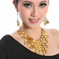 Cheap Wholesale-1 Set Tribal Belly Dance Jewelery Costume Beads Gold Coins Necklace & Earrings Super Girl Wholesale