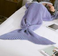 Wholesale Adult Mermaid Tail Blankets Mermaid Tail Sleeping Bags Cocoon Mattress Knit Sofa Blankets Handmade Living Room Sleeping Bag cm blanket
