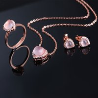 Wholesale S925 Sterling Sliver Jewelry Set K Rose Gold Plated Prong Setting Rose Quartz Rings Necklace Earrings For Women Robira