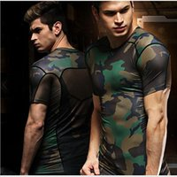 Cheap Men Compression Shirts Dry Quick Camouflage Elastic Breathable Skins Base Layers Tees Tops Tights Running T-shirts Sports jersey