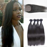 asian natural hair - Silk Base Closure with Bundles Asian Virgin Hair Top Quality Popular Straight Natural Color Human Hair Fast Shipping