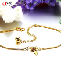 beaded jewellery designs - OPK JEWELLERY K Gold Plated Anklet Women s Sexy Anklets Golden Leaf Design anklets beaded foot jewelry