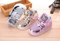 Wholesale 2016 New Cheapest Autumn Children s Fashion Sneakers Kids Shoes with light Chaussure Enfant Hello Kitty Girls Shoes Hot Slae