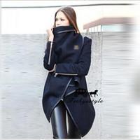 Wholesale Woolen Foreskin Skirt Irregular Loose Black Coat Warm Zipper Decoration Overcoat Women Winter For Dress
