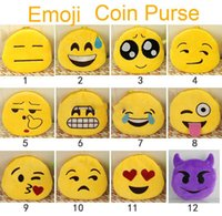 Wholesale Emoji Plush Coin Purses cm Yellow Small Wallet Women Lady Cute QQ Chat Expression Money Bag Pendant Zipper Totes Party Gift