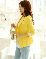 Wholesale Coats For Women Korea - Wholesale-Free Shipping New Arrival Korea Style yellow Blazers Clothes coat for Women Candy Color white red for Ladies Top 2016 Autumn