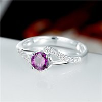 Wholesale Best gift Full Diamond fashion Twisted clip stone silver Ring STPR029C brand new purple gemstone sterling silver finger rings