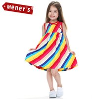 beach ball candy - Girls Summer Dresses Candy Rainbow Dress for Kids Beach Girl Clothing Sleeveless Vestidos Baby Striped Party Korean Dresses