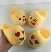cartoon slippers - 5 styles Emoji Smile Cartoon Plush Slipper Shoes Emoji Soft Warm Household Winter Slippers for Children cm Embroidery Slippers B4034