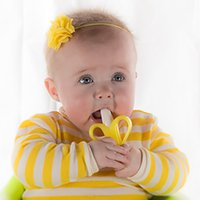 Wholesale 2016 Baby Teethers Baby Teething Rings Bite Baby Banana Soothers Training Teethers Silicone Banana Toothbrush