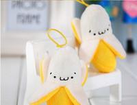 banana keychain - 8cm Banana Plush Soft Toy Keychain Pendant For Cell Phone Handbag String Doll Stuffed toy Wedding Bouquet doll