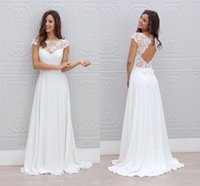 Wholesale Modest Beach Wedding Dresses Cheap Lace Sheer Neck Cap Short Sleeves Simple Chiffon Long White Backless Boho Bridal Gowns Custom Made
