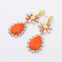 big dangle earrings orange - Luxury Earrings High Quality Diamond Gem Stud Earrings Women Bohemia Style Flower Earring Lady Fashion Jewelry Women Orange Big Earring