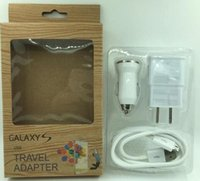 ac charging kit - 3 in Kits EU AC Travel USB Wall Charger Mini Car Charger Date Sync Charging Cable For Samsung Sony HTC Cellphone