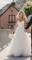 Wholesale 2016 New Beach Wedding Dresses Sweetheart with Lace Corset Bodice Spaghetti Straps Tulle Bridal Gonws Discount Sale Princess Country Bridal