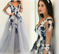 Wholesale 2017 New Sexy Prom Dresses V Neck Illusion Long Sleeves Lace Appliques Long Gray Tulle Open Back Evening Dress Party Pageant Formal Gowns
