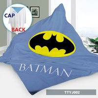 Wholesale Cosplay Bath towel cape ponchos custom made batman kids capes Cartoon Cosplay Costume baby blanket hoodie beach towel