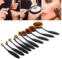 Wholesale 10pcs set Tooth Brush Shape Oval Makeup Brush Set Professional Foundation Powder make up brushes with retail box