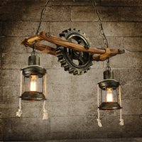 barn lantern lights - Designer s dining room restaurant creative Antique barn lantern lampshade pendant lamp real wood art Retro gear pendant light