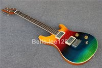 Wholesale OEM custom frets guitar rosewood fingerboard mahogany body and neck rainbow color fisnish electric guitars
