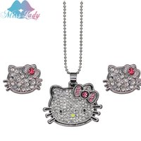 Wholesale Cute Bohemian Jewelry - 18K Platinum Plated Cute Lovely Hello Kitty Cat Crystal Jewelry Sets necklaces earrings Fashion Jewelry for women Girls W0520