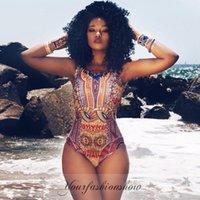 Wholesale XS XXL Dashiki New Summer Sexy African Swimwear Women Print Bodysuit One Piece Swimsuit Beach Bikini Bodysuits L293