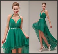 Wholesale Sexy Wear Bust Open - Halter Neck Green Prom Dress Backless Peplum Sashed Crystals Beadings Sexy Bust And Open Back Soft Hi Lo Homecoming Dress Cheap Price