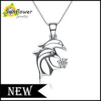 american family products - SUNFLOWER NWES product white made of Sterling Silver with zircon family mother love Dolphin Pendant