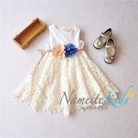 american beauty flowers - new fashion Cotton lace summer children girls flower dress Princess Dress super beauty kids dress