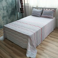 Wholesale Cotton Bed Linen Custom Size Stripes Sheet Sets Cotton Flat Sheet Queen Fitted Sheet Twin Case Beddig Sets