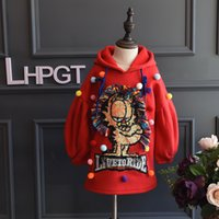 Wholesale Christmas Kids Girls New Arrrival Lantern Sleeve Sequined Cartoon Hooded Tops Solid Color Casual Colorful Fleece Ball Clothing