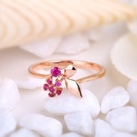 Wholesale Robira Women K Gold Ruby Ring Gemstones Jewelry with flower desing