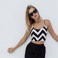 batik sundresses - Women s Hot Summer New Render Stripe Crop Top Small Condole Belt Vest Fashion Black and White Casual Sundress