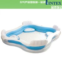 Wholesale inflatable square pool with seat and cushion intex swimming pool with hand pump Free DHL shipping