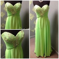 Cheap 2016 Lime Green Prom Gown Real Picture Sweetheart Beading Crystal Backless Chiffon Long Evening Formal Dress Junior Bridesmaid Gown Cheap