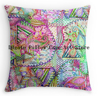 beauty abstract - Luxury Printing Abstract Girly Neon Rainbow Paisley Sketch Patter Square Zippered Throw Pillowcase Beauty Decorative Cover Twin Side Printed