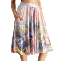 belle prints - NEW Sexy Girl Women Summer princess belle Beauty and the Beast D Prints Skater Pleated Skirt Knee Skirts With Pocket