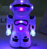 Wholesale New electric universal space robot will shine happen strange new children s toys white Size can be customized